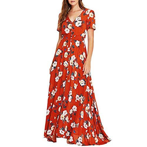 Women's Summer V Neck Wrap Vintage Floral Print Short Sleeve Split Belted Flowy Boho Beach Long Dress Red