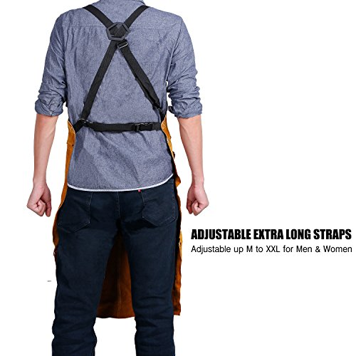 QeeLink Leather Work Shop Apron with 6 Tool Pockets Heat & Flame Resistant Heavy Duty Welding Apron, 24″ x 36″, Adjustable M to XXL for Men & Women (Brown)