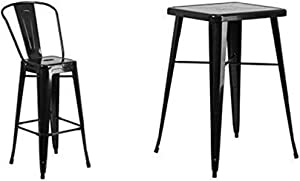 Flash Furniture 23.75'' Square Black Metal Indoor-Outdoor Bar Table Set with 2 Stools with Backs