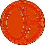 "Reusable Divided Party Plates Tableware, Orange Peel, Plastic , 10"", Pack of 20"
