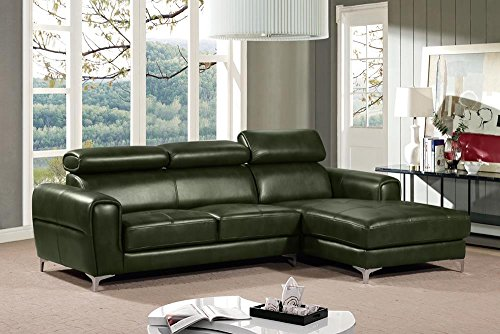 Sebba RF Chaise Sectional with Adjustable Headrests in Forest Green Leatherette