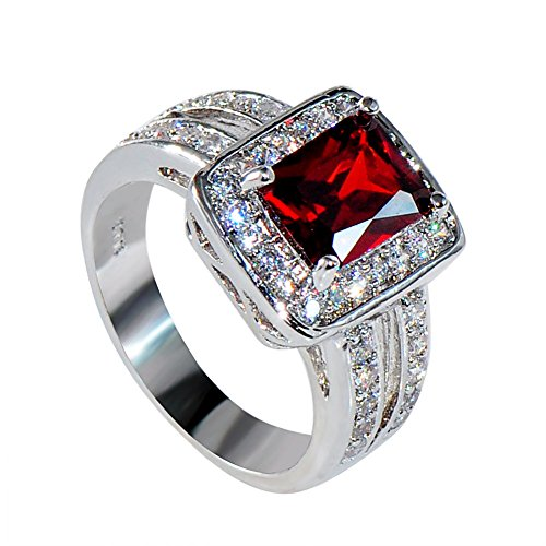 [Cosines Jewelry - Red Ruby Emerald Cut Engagement Ring White Gold Bridal Women's Wedding Party Size] (Good Guy Duo Costumes)
