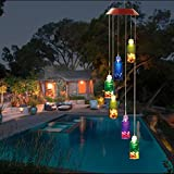 FC-Fancier Solar Wind Chimes, Color-Changing Solar LED, Mobile Wind Chime,LED Waterproof Wind Chimes For Home/Party/Night/Garden/Festival Decor/Garden Gift (Wishing bottles)