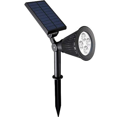 Luces solares al aire libre, impermeables 4 LED Proyector solar ...