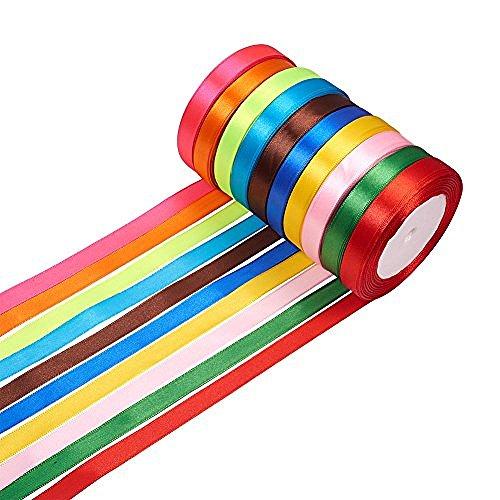 Fashewelry 10 Colors Fabric Ribbon Silk Satin Ribbons Roll 1/2