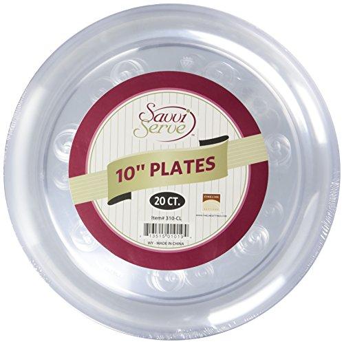 Fineline Settings 20-Piece Savvi Serve Plastic Plate, 10-Inch, Clear