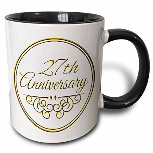3dRose mug_154469_4 27th Anniversary gift gold text for celebrating wedding anniversaries 27 years married together Two Tone Black Mug, 11 oz, Black/White