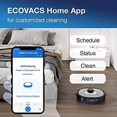 Ecovacs DEEBOT OZMO 950 Robotic Vacuum Cleaner 2-in-1 Vacuuming & Mopping with Smart Navi 3.0 Laser Technology Custom Cleaning Multi-Floor Mapping Virtual Wall Works on Carpets & Hard Floors 12