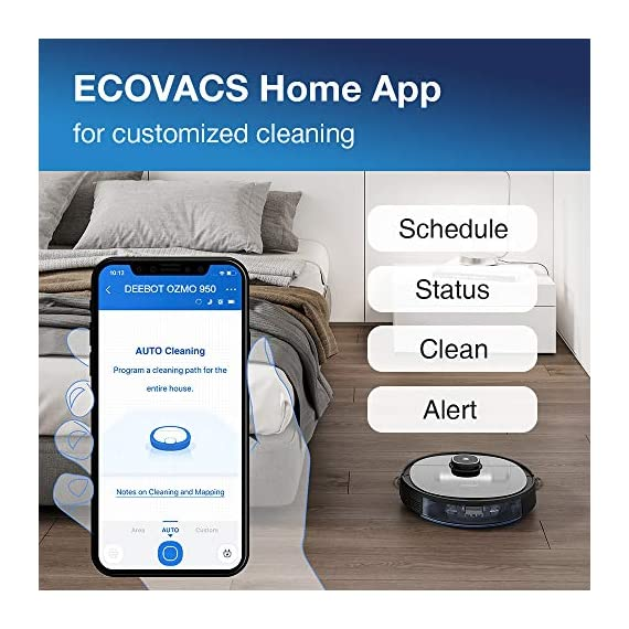 Ecovacs DEEBOT OZMO 950 Robotic Vacuum Cleaner 2-in-1 Vacuuming & Mopping with Smart Navi 3.0 Laser Technology Custom Cleaning Multi-Floor Mapping Virtual Wall Works on Carpets & Hard Floors 6