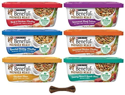 Purina Beneful Prepared Meals Variety Pack Wet Dog Food - 6 Flavor Bundle, 10 Oz Each - Pack of 6 Plus Dog Bone & Earth Friendly Poop Bags (8 Items Total)