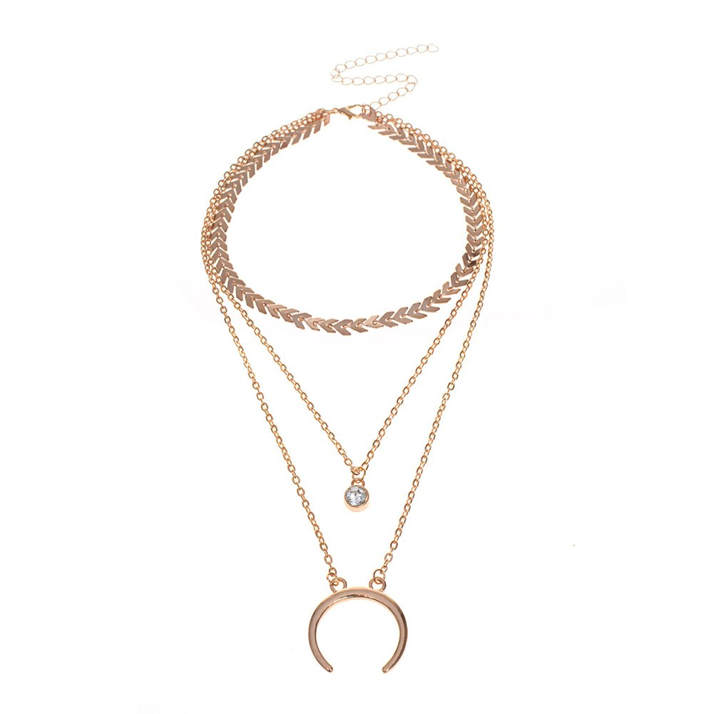 Wintefei Fashion Rhinestone Multi-layer Chain Necklace Women Jewelry Pendant Gift Party - Golden