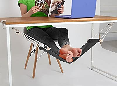 Adjustable Mini Black Foot Hammock - Office Foot Stool Under Desk - Foot Rest for Office and Home - Portable