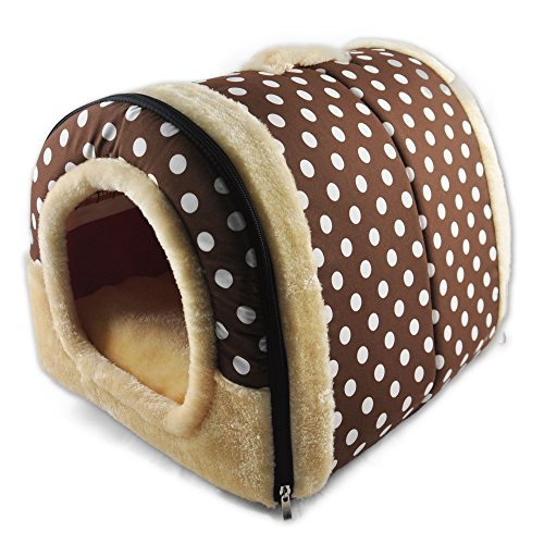 ANPI 2 In 1 Pet House and Sofa, Brown White Dots Machine Washable Non-slip Foldable Soft Warm Dog Cat Puppy Rabbit Pet Nest Cave Bed House with Removable Cushion Detachable Cashmere Mattress, Medium