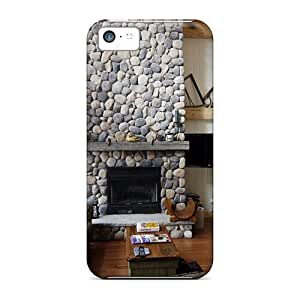 Durable Protection Case Cover For Iphone 5c(cabin Livingroom With A Fireplace)