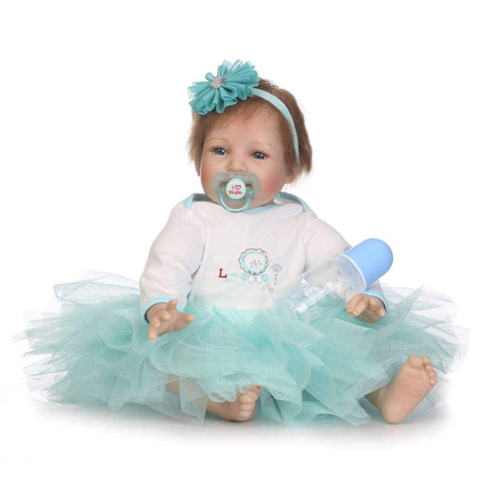 Kids Beach Toys Blue Dress Rewborn Nursery Baby Alive Doll Realistic Pretend Role Play Kids Toys Cute Newborn Baby Girl Doll Lifelike With Clothes Hair Accessories Feeding Toys Milk Bottle Baby Toddle