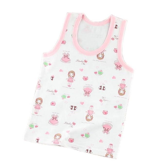 6-7 Yrs PANDA SUPERSTORE 2 Packs Pink Printed Girls Tank Tops