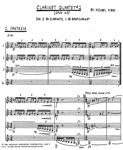 Clarinet Quartet No.2 by Michael Kibbe
