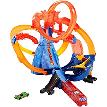 hot wheels track builder volcano blast trackset toys games