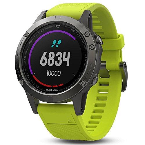 Garmin fnix 5 GPS Heart Rate Monitor Watch Slate Gray with Amp Yellow Band 010-01688-02