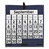 Carson-Dellosa Publishing 158156 Monthly Calendar 43-Pocket Chart with Day/Week Cards, Blue, 25 x 28 1/2