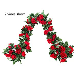 EDIFIERY 2 Pack (16FT) Artificial Rose Vine Flowers Plants Fake Flower Vine For Wedding Home Party Garden Craft Art Decor Red 88