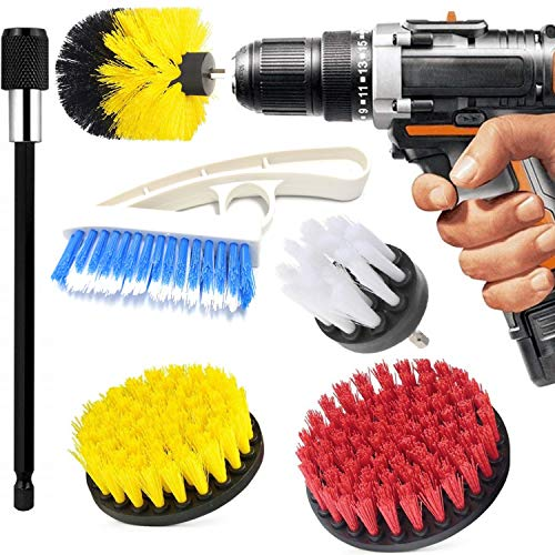 Drill Brush Attachment Scrub Brush - for Cleaning Kitchen Bathroom Surfaces Tub, Shower, Tile and Grout - All Purpose Power Scrubber Cleaning Kit with 6 Inch Drill Bit Extension (6 Pack)