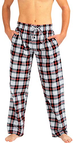 (NORTY - Mens Woven Poplin Plaid Sleep Lounge Pajama Pant, Black, Red, White 40767-Large)