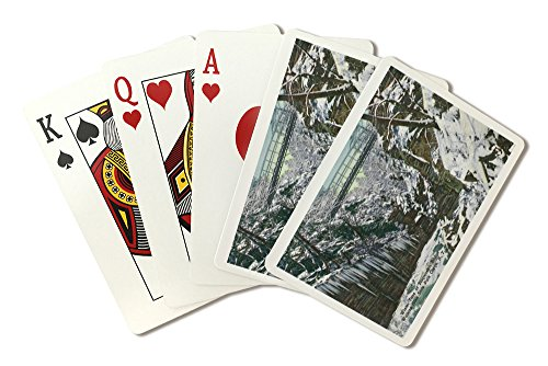 (Watkins Glen, New York - State Park Gorge Suspension Bridge View in Winter (Playing Card Deck - 52 Card Poker Size with Jokers))