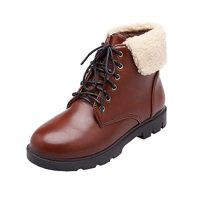 e450a8e3fa3c14 Kittcatt Femme Botte a Lacets Talon Plat Bottine Fourrure Confortable à  Porter Ankle Boots Chaussure Chaude pour Hiver: Amazon.fr: Chaussures et  Sacs