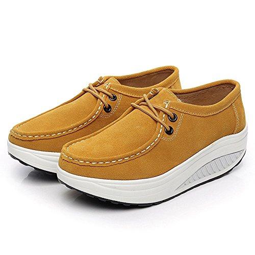 Entrenadores 1061 Ante Aptitud Caminar Cuero Calzo Shenn Plataforma Amarillo Para Mujer Zapatos OcWT4vx8