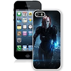 5S case,Mass Effect Shepard Ammunition Gun Face White iPhone 5s cover
