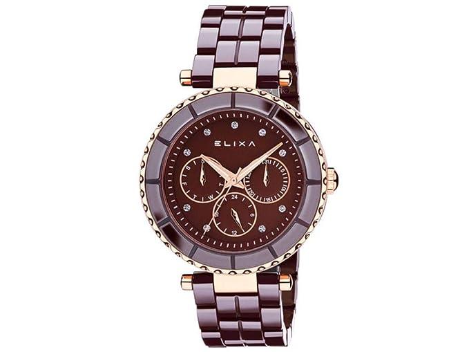Reloj multifunción Elixa Mujer Watch de cerámica Brown Dial e077-l283 & # x20AC;