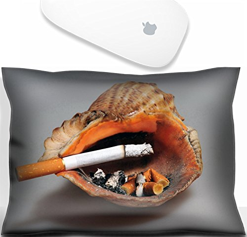 Luxlady Mouse Wrist Rest Office Decor Wrist Supporter Pillow in shell ashtray on gray background Stop smoking concept. IMAGE: 3905328
