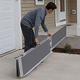 Rage Powersports WCMF-5 Spring Multi-Fold Mobility Scooter and Wheelchair Ramp (5 ft. Silver)