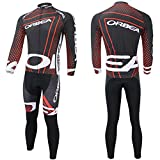 Mengku Outdoor Sports Pro Team Orbea Men's Long Sleeve Cycling Jersey and Bib Pants Set, Red