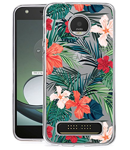 BAISRKE Moto Z2 Play Case, Moto Z2 Force Case with Flowers Slim Shockproof Clear Floral Pattern Soft Flexible TPU Back Cove for Moto Z2 Play / Z2 Force [Green]