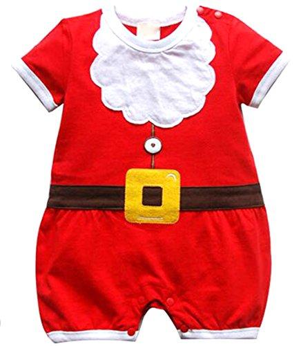 EKU Newborn Boy Girl Cute Christmas Snowman Long Sleeve Bodysuit 100cm red