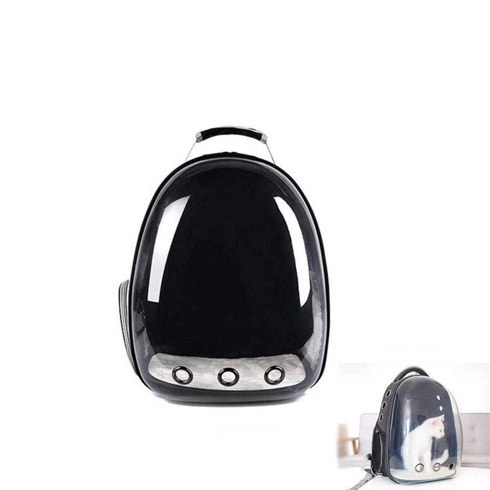 Black Pet Backpack Oxford Cloth Breathable Four Seasons Universal Translucent Out Portable Dog Bag for Small Pets,Black