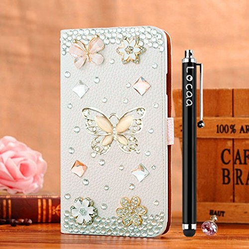Mini D-pad Crystal Cover (Locaa(TM) Apple IPhone 5 5G 5S Bling 3D Crystal Pearl Diamond Rhinestone Eyecatching Beautiful Leather Folio Support Smart Cover With Card Holder Case - [General series] crown)