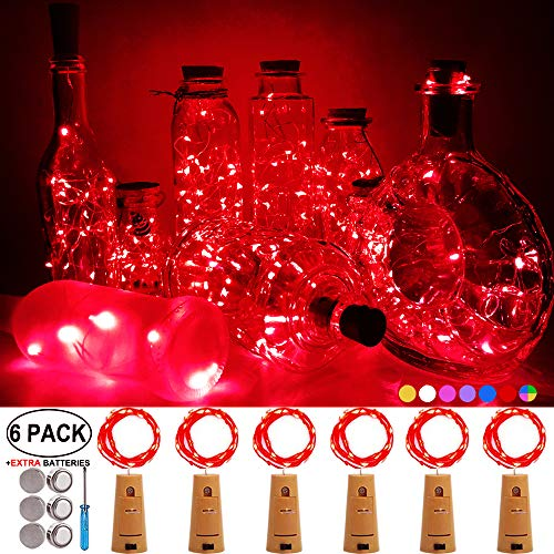 Best Red Wine For Halloween (iLLTAKE Wine Bottle Lights with Cork Red 6 Pack 20LED Fairy Lights Battery Operated Wine Cork Lights Christmas String Lights for DIY Wedding Party Bedroom Decoration Halloween)