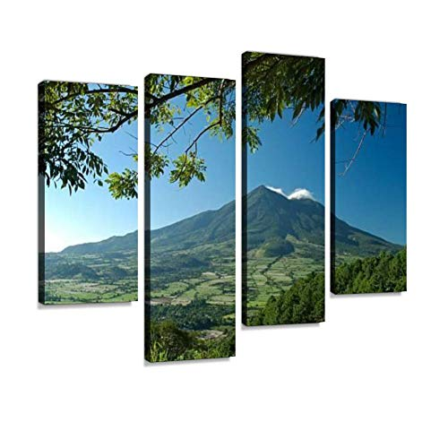 San Vicente Volcano El Salvador Central America Canvas Wall Art Hanging Paintings Modern Artwork Abstract Picture Prints Home Decoration Gift Unique Designed Framed 4 Panel