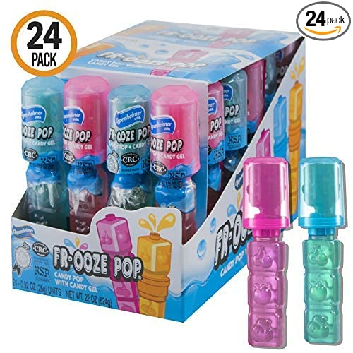 24-Pack Candy Pops with Fruit Flavored Candy Gel - Blue and Pink Assorted Lollipop Suckers Party Favors (Kosher, NET WT 22 OZ, 624g)