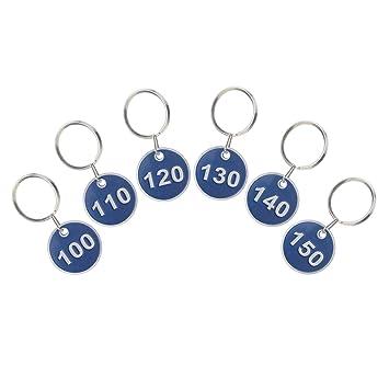 ASPIRE Etiqueta de la llave Llavero Etiqueta del número del borde del metal 200 piezas 1-200 Blue