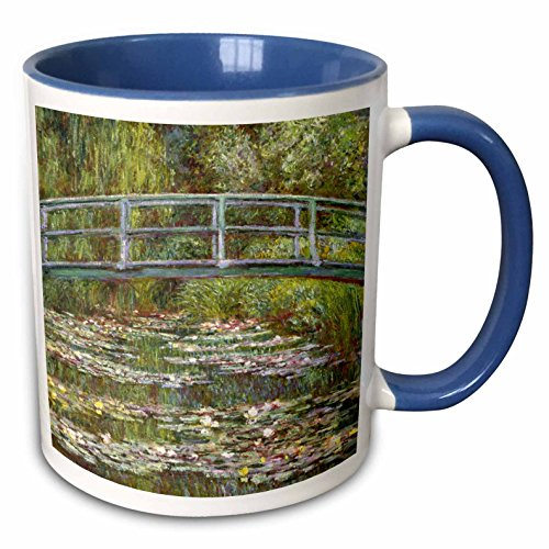 3dRose InspirationzStore Vintage Art - Bridge over a Pool of Water Lilies - 1899 - by Impressionist Claude Monet famous fine art by masters - 11oz Two-Tone Blue Mug (mug_155635_6)