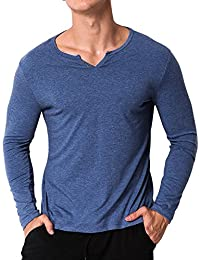 Men's Long Sleeve Shirt V Neck Henley Slim Fit T-shirts Cotton Tops