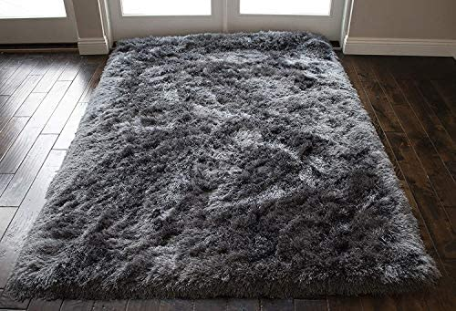 5 x7 Feet Shag Silver Gray Grey Charcoal Colors Two Tone Shaggy 3D Carved Area Rug Carpet Rug Indoor Bedroom Living Room Decorative Designer Modern Contemporary Plush Pile Polyester Made