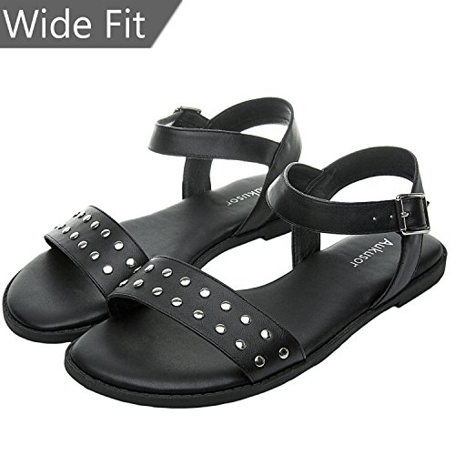Women's Wide Width Flat Sandals - Open Toe One Band Ankle Strap Flexible Buckle Gladiator Casual Summer ()