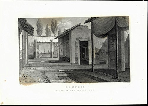 Tragic Poet House Columns Bath Pompeii Italy antique c. 1832 old engraved print ()