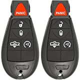 Keyless2Go Keyless Entry Remote Car Key for RAM Vehicles That Use 5 Button Fobik GQ4-53T with Air Suspension and RS Buttons - 2 Pack