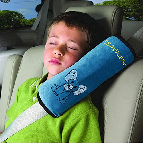 (Seat Belt Pillow for Kids,Seatbelt Pillow with Clip,Auto Headrest Neck Support Travel Pillow Cover,Car Safety Seat Strap Protector Cushion,Soft Vehicle Shoulder Pad for Child Toddler Adult (Blue))